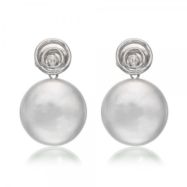 Charming Freshwater Coin Pearl & Diamond Gold Earrings