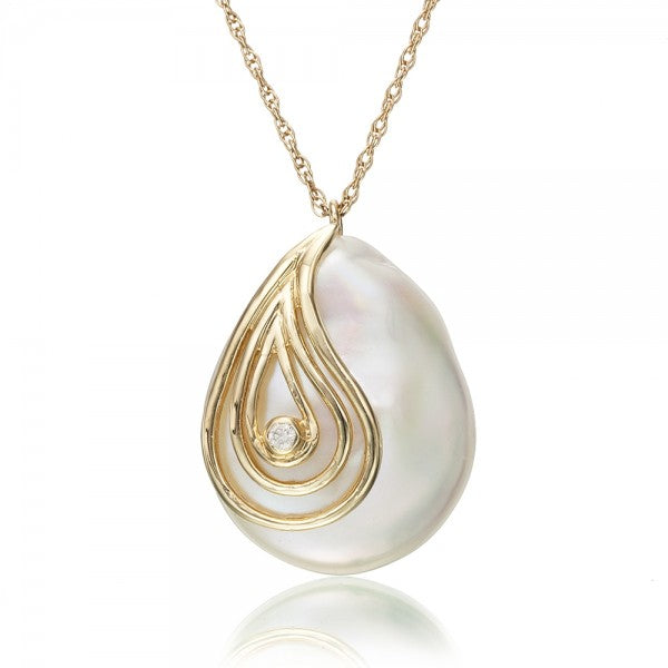 Cultured Pearl & Diamond Gold Necklace