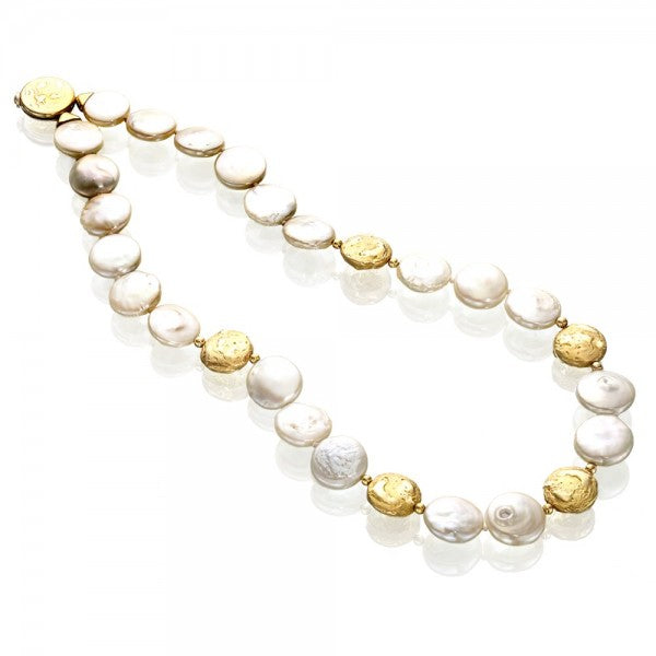 Romantic Culltured Freshwater Coin Pearl & Gold Nugget Necklace