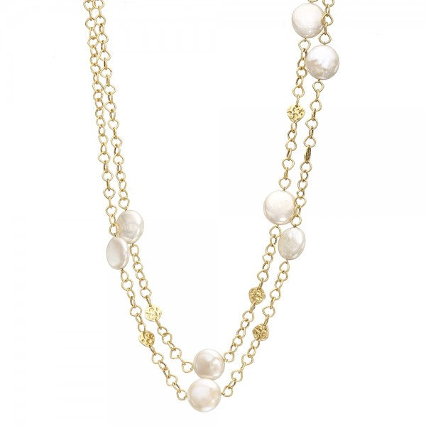 Graceful Cultured Freshwater Coin Pearl & Gold Nugget Long Necklace