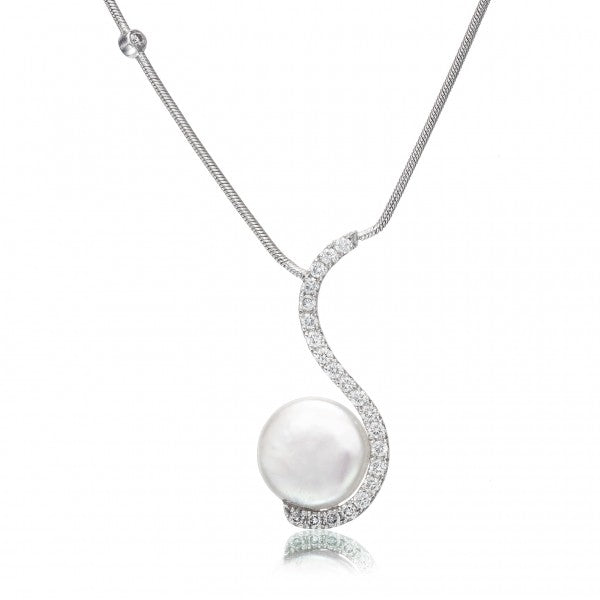 Elegant Cultured Pearl & Diamond White Gold Necklace