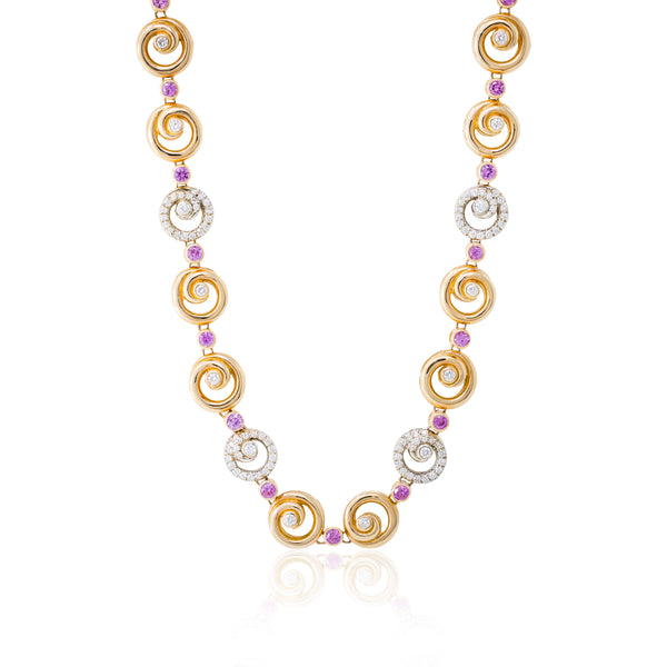 18kt Rose Gold Pink sapphire and diamond necklace.