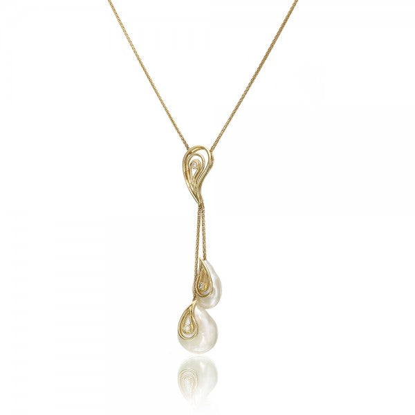 Seductive Cultured Freshwater Coin Cultured Pearl & Diamond Gold Necklace