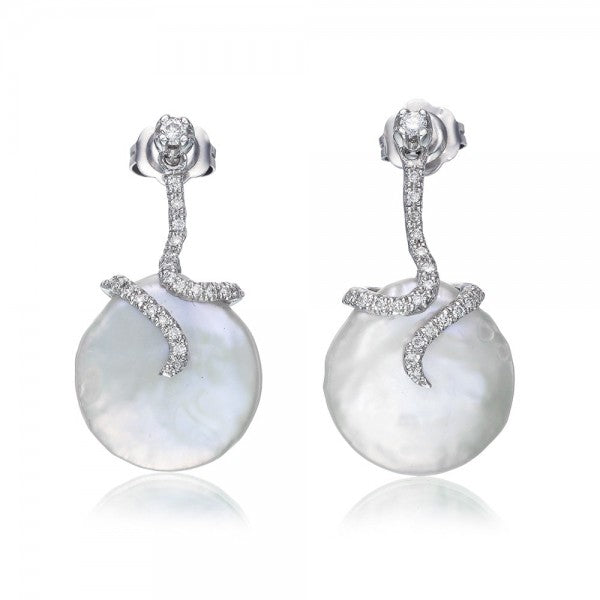Enchanting Cultured Freshwater Coin Pearl & Diamond Earrings