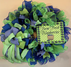 Fun Spring/Summer Blueberry Wreath for Front Door