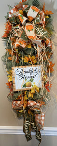 Thankful and Blessed Fall Swag for Front Door