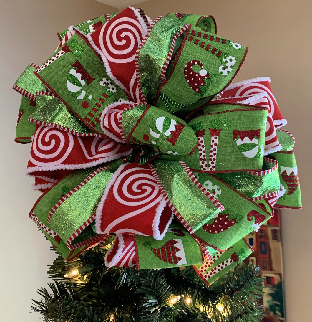 Beautiful Red and Green Elf Tree topper Bow