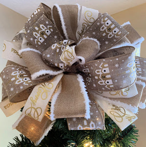 Beautiful Beige and White Church Tree topper Bow