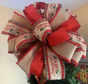 Beautiful Red and Beige Merry Christmas Tree topper Bow