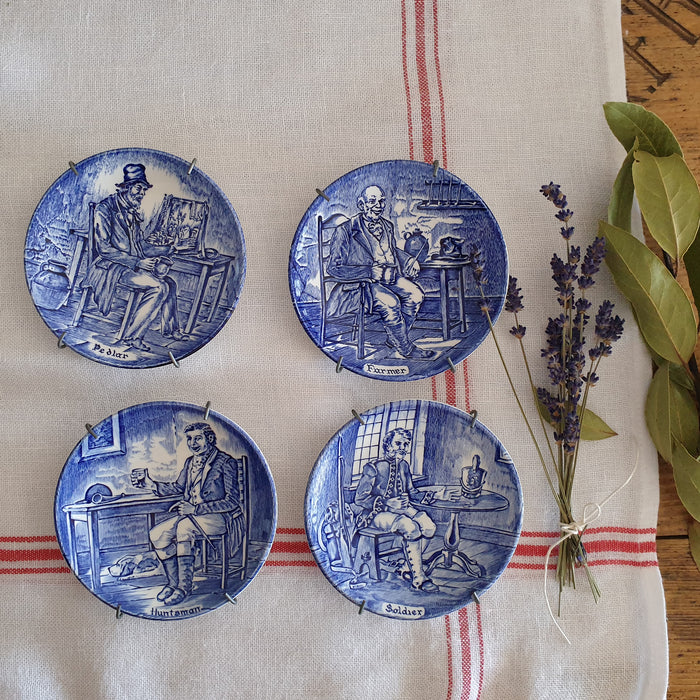 Vintage Blue and White English Plate Set, Gift Boxed