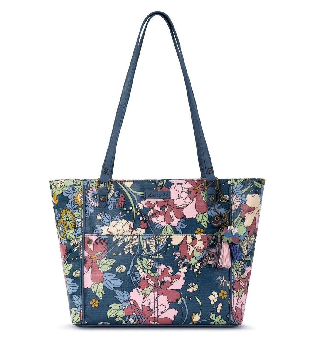 DENIM FLOWER METRO SATCHEL