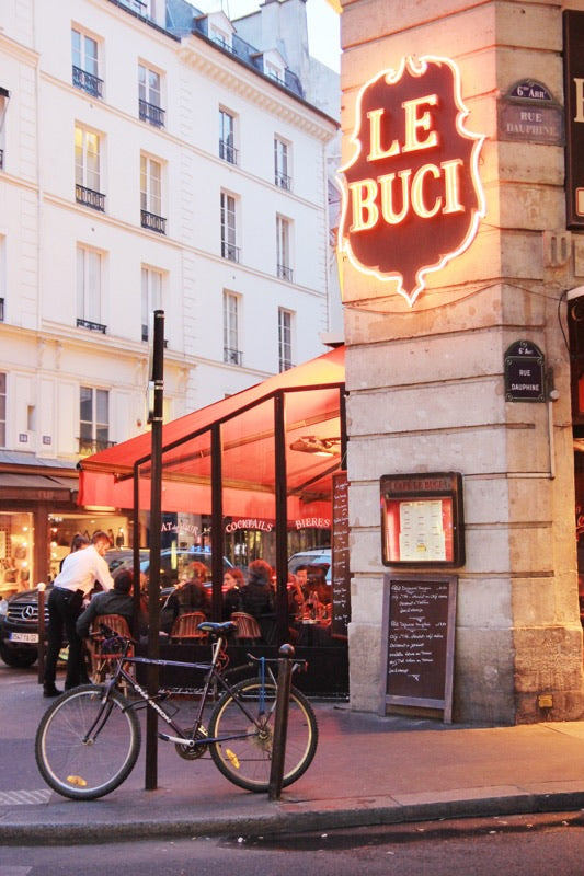 Café Le Buci rue Dauphine Saint Germain Paris evening