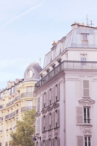 Seventh 7th arrondissement Haussmann buildings near the Eiffel Tower Paris France pastel pink