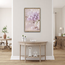 Load image into Gallery viewer, Lilac flowers arranged in a vintage style jardiniére vase Wall hall table console