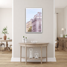 Load image into Gallery viewer, Seventh 7th arrondissement Haussmann buildings near the Eiffel Tower Paris France pastel pink