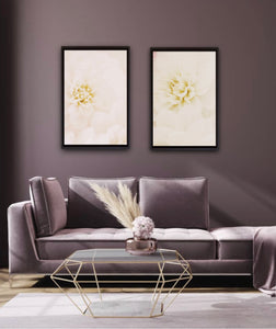 White dahlia macro closeup wall art photography decor living room