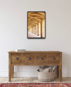 arched gallery at the place des vosges in the marais paris france. wall art photography