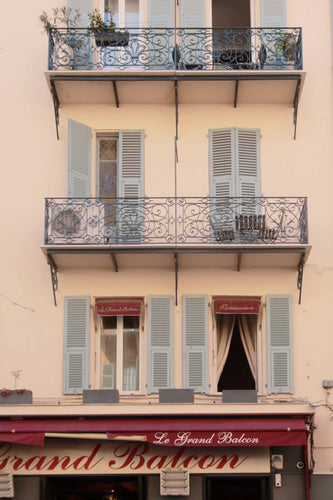 Le grand Balcon restaurant in old town Nice, Côte d'Azur French Riviera South of France blue shutters balconies wall art photography