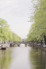 Load image into Gallery viewer, Canal in Amsterdam boats trees wall decor art photography