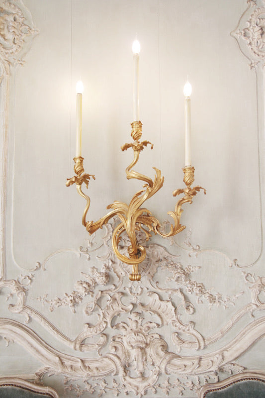 Wall sconce and ornate detail at the Hôtel de Soubise, Le Marais, Paris France photograph