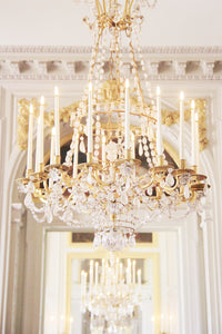 chandelier at the Petit Trianon, Chateau de Versailles, paris france, reflected in a mirror. wall art decor photography