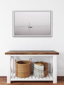 sailboat on the Gouwzee lake in the netherlands spring morning mist grey wall art photography hamptons style