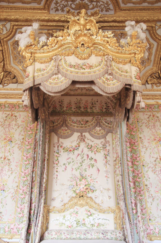 chambre de la Reine, Queen Marie Antoinette's bedroom in the Chateau of Versailles, Paris France. wall decor photography art