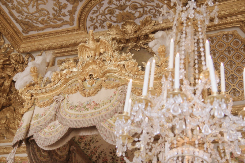 the Queens Chamber, marie antoinettes room at chateau de versailles, chandelier and tapestry bed canopy france wall art decor photograph