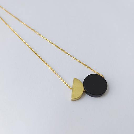 Black Disc + Semi Brass Circle Necklace