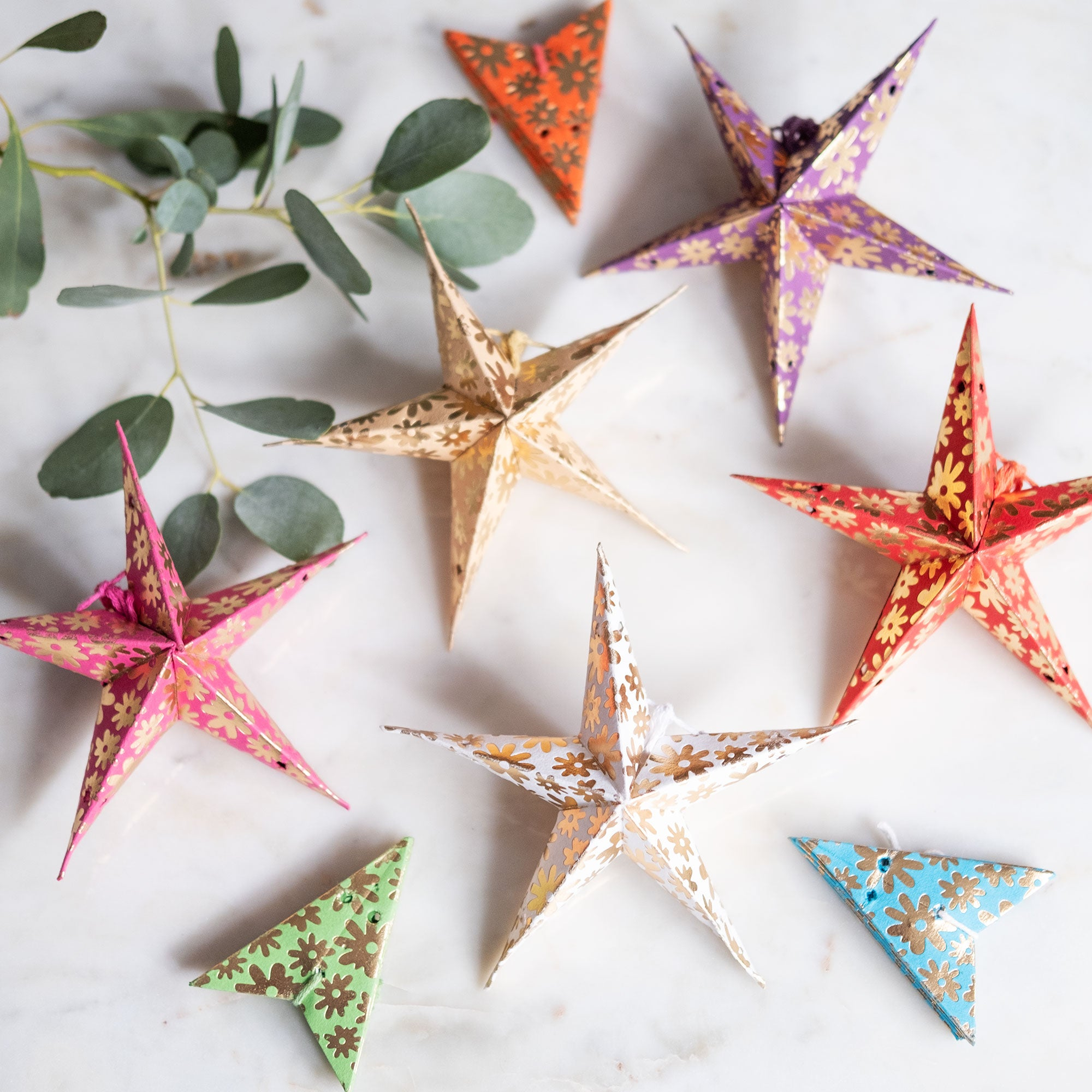 Recycled Cotton Paper Star Decoration Set