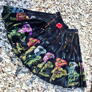 1950s Vintage Hand Painted Calla Lily & Sequin Mexican Skirt