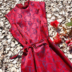 1950s Vintage Cheongsam Qipao Damask Dress