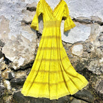 Load image into Gallery viewer, 1970s Vintage Canary Yellow Boho Lace Dress
