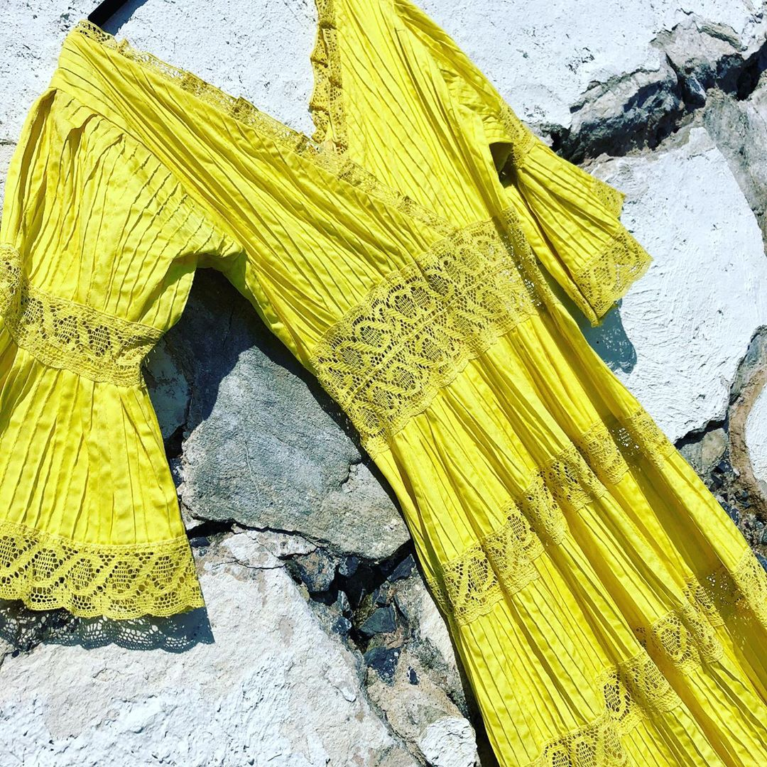 1970s Vintage Canary Yellow Boho Lace Dress