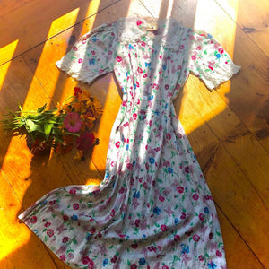 1930s Vintage Semi-Sheer Cotton Floral & Butterfly Dress