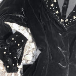 Load image into Gallery viewer, 1940s Vintage Black Velvet Jacket Embellished with Handset Rhinestones and Faux Pearls