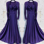 Load image into Gallery viewer, 1940s Vintage Purple Rayon Gown/Dress with Sweetheart Neckline