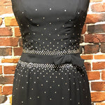 Load image into Gallery viewer, 1950s Vintage Rhinestone Embellished Black Dress