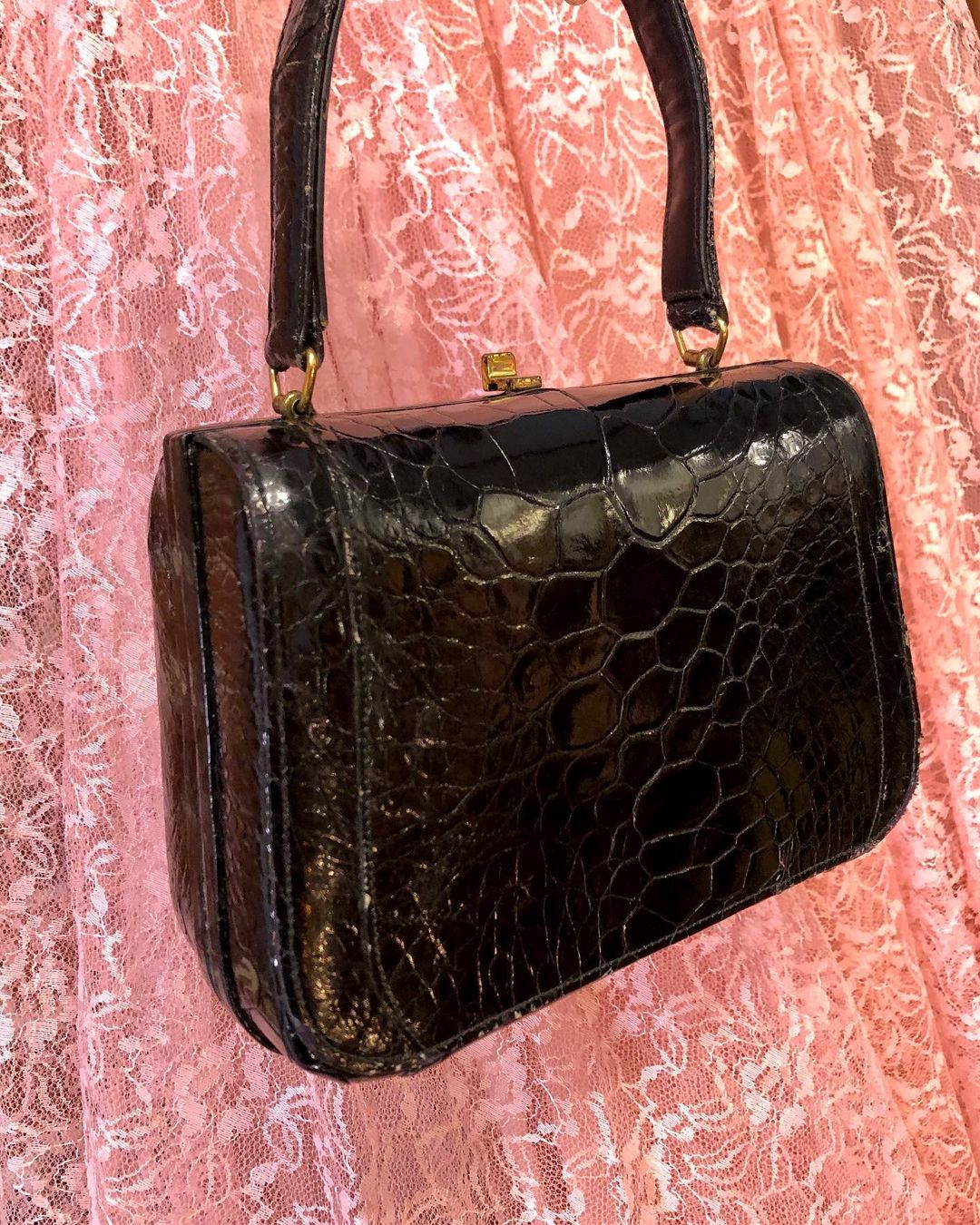 1950s Genuine Alligator Black Handbag