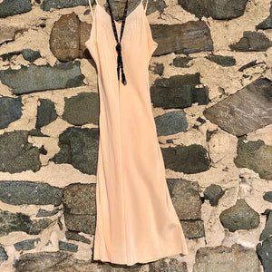 1920s-1930s Silk Embroidered Peach Slip/Negligee