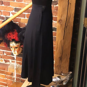 1930s Rayon Black Skirt with Side Buttons