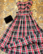 Load image into Gallery viewer, 1940s Plaid Taffeta Dress/Gown with a Bow