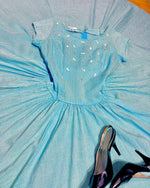 Load image into Gallery viewer, 1950s Sky Blue & White Gingham Dress