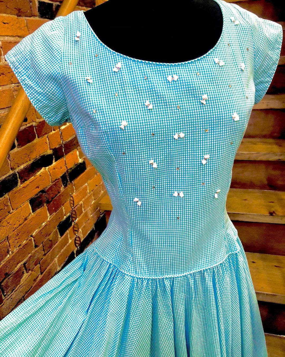1950s Sky Blue & White Gingham Dress