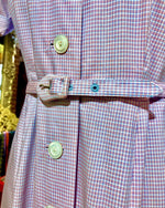 Load image into Gallery viewer, 1950s Lilac Pink Mini Check Button Down Dress with Mother of Pearl Buttons