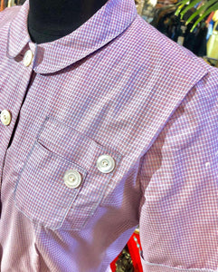 1950s Lilac Pink Mini Check Button Down Dress with Mother of Pearl Buttons