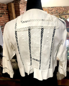 Edwardian Linen Blouse with Crochetted Buttons and Embroidery
