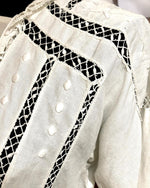Load image into Gallery viewer, Edwardian Linen Blouse with Crochetted Buttons and Embroidery