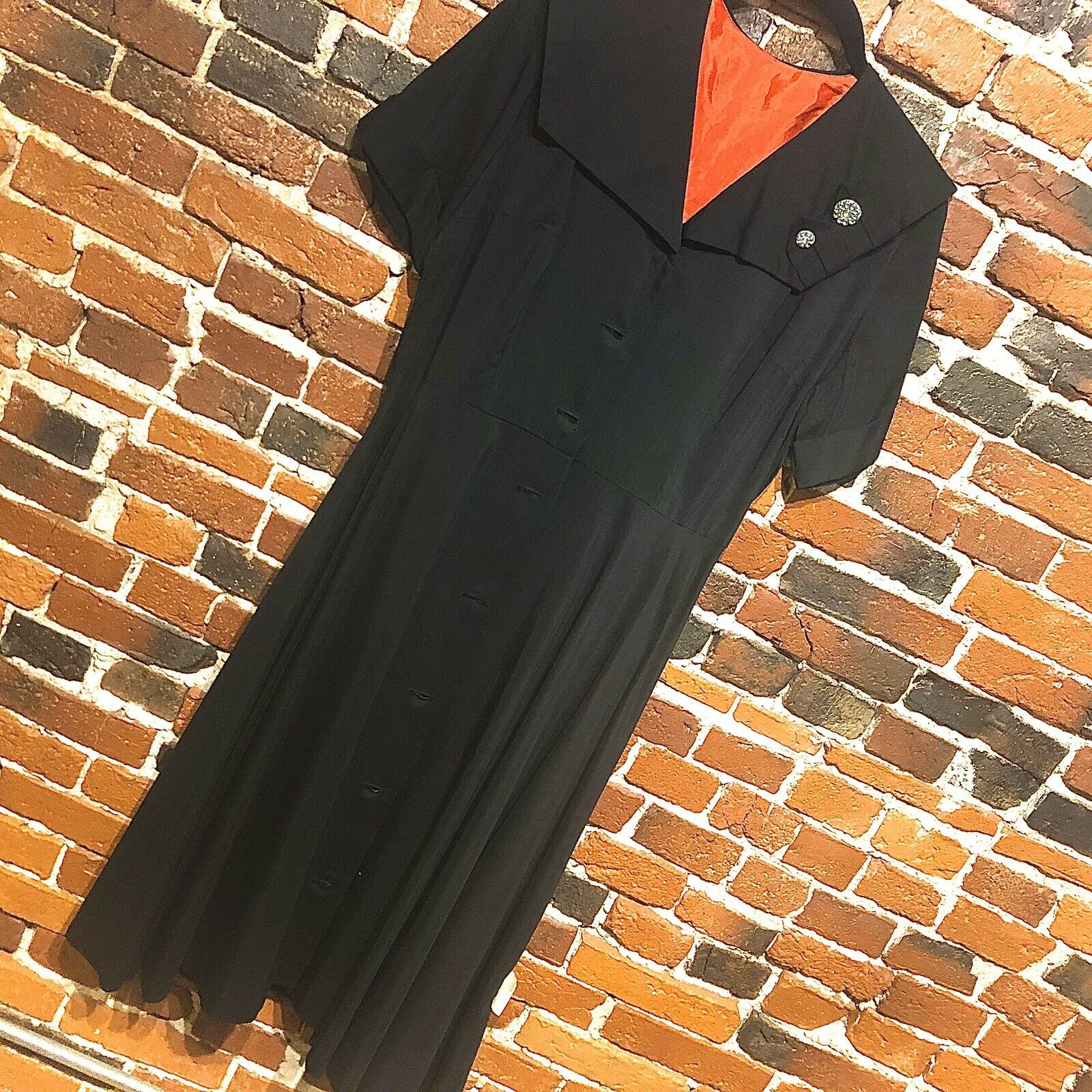 1940s Vintage Dress with Orange Lining and Rhinestone Buttons