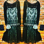 Load image into Gallery viewer, Vintage Lace Dress with Satin Slip - does 1920s